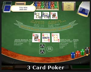 free play 3 card poker online